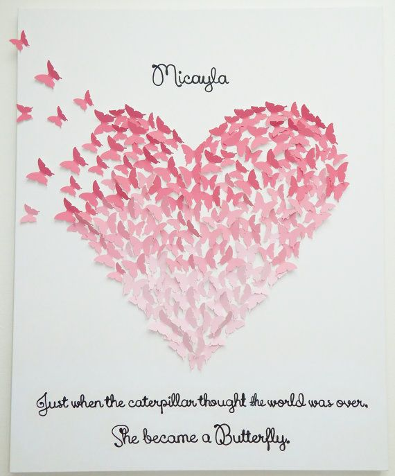 Hand Made Butterfly Heart Art With Quote By