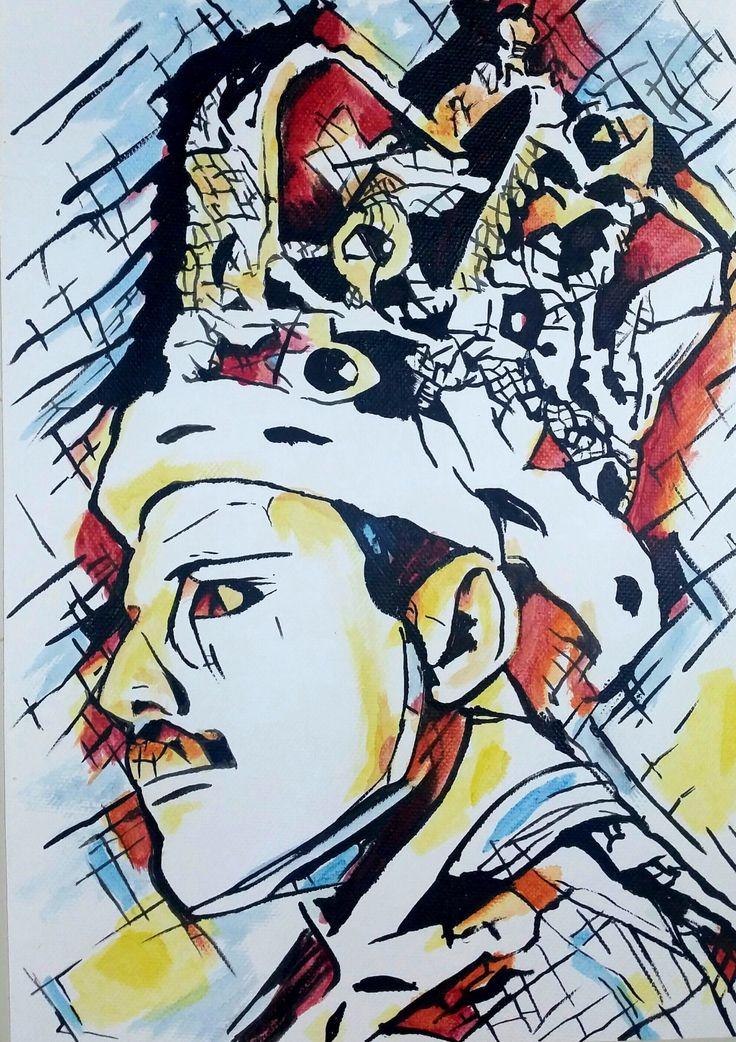 Freddy Mercury nella mia visione, indagatocon linee e colori che vogliono esprimere la sua energia in un'immagine in cui traspare però la sua malinconia. Titolo: Freddy Tecnica: acrilico Materiale: tela libera Dimensioni: 21 x 29,7 cm Anno: 2017 In vendita   #acrilic #art #arte #artworks #canvas #dipinto #drepar #espressionismo #espressionismo lineare #Freddy #Freddy Mercury #giallo #icona #info #linee #men #Mercury #music #notte #popstar #portfolio #Queen #rosso #