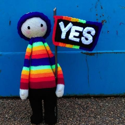 YES! Rainbow Doll...supporting marriage equality in Australia.   Project information and pattern link here;   http://www.ravelry.com/projects/LindaDavie/lalylala-paul-the-toadstool-15