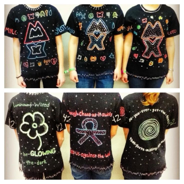 @hlink42:  Here's me, @coldplay_fan42 and @coldpl4yer in our homemade Coldplay shirts! :) We are from the US and the shirts were made from glitter paint, beads, and glow in the dark fabric paint(: