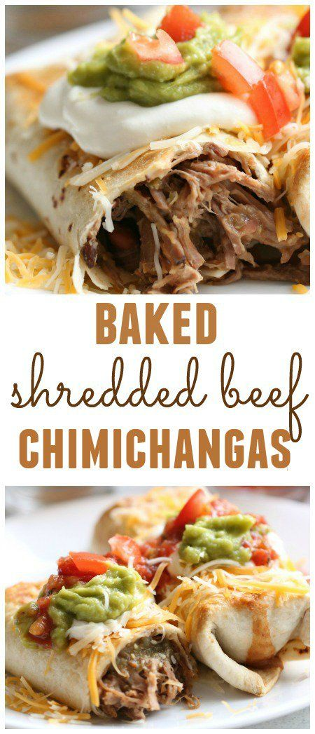 Baked Shredded Beef Chimichangas - Six Sisters' Stuff | You will love how easy and delicious these baked chimichangas are.  We used the leftover roast beef from our Sunday dinner and it was amazing! #sixsistersrecipes #dinner
