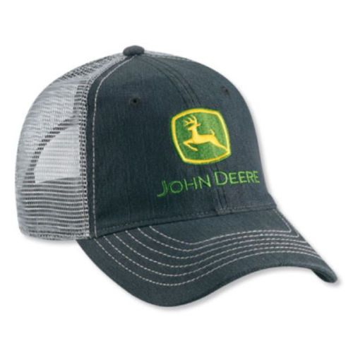 7999920521f JOHN DEERE  DARK DENIM   GREY MESH BACK  TWILL HAT CAP  BRAND NEW    JohnDeere