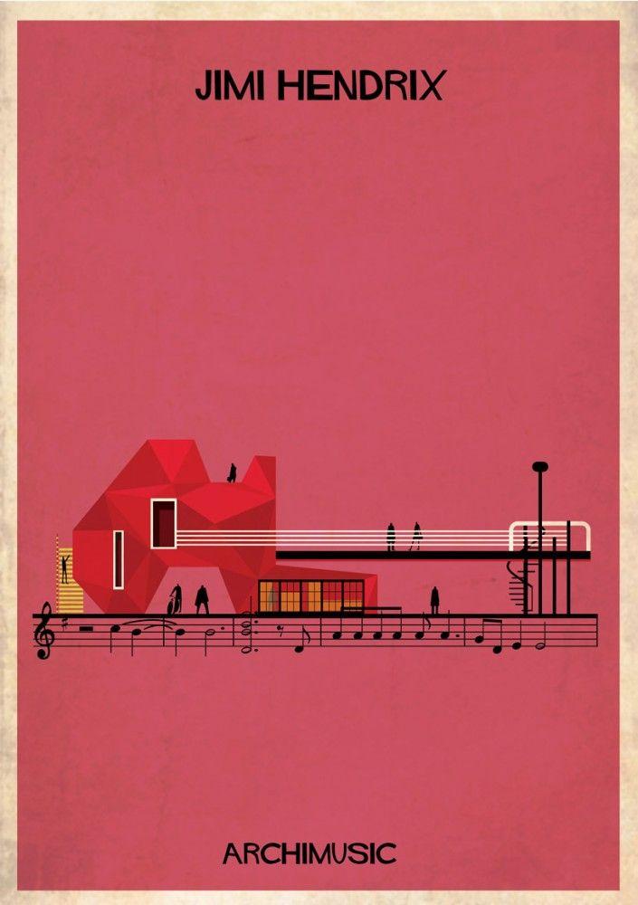 "ARCHIMUSIC: Illustrations Turn Music Into Architecture - Federico Babina / Jimi Hendrix, ""Hey joe"""