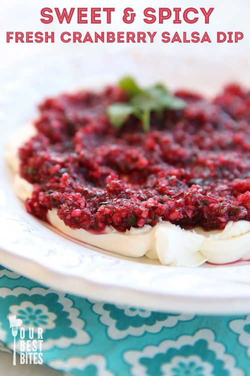 The perfect sweet & savory holiday appetizer: bright and tangy cranberries combine with spicy jalapenos and are cooled by creamy cream cheese.