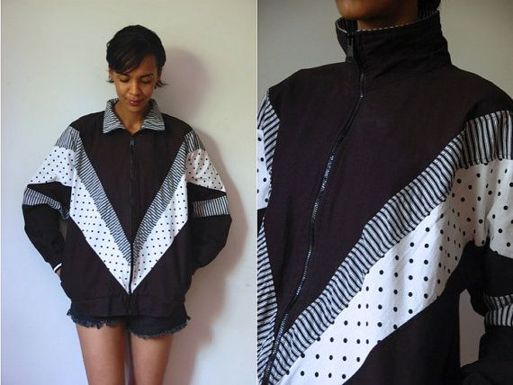 Vtg B&W Polka Dots and Stripes Zip Up Cotton by LuluTresors, $24.99