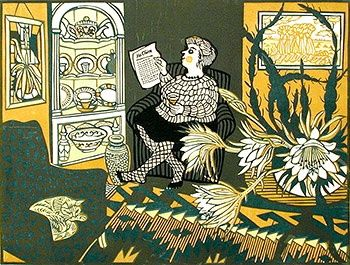 A Letter from France, linocut by Richard Bawden