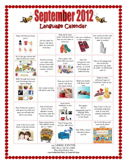 Carrie's Speech Corner: This website has newsletters with some good ideas. The language calendar could be a good activity to give as a homework activity