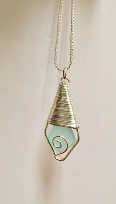 Handmade Blue Sea Glass Necklace wire Wrapped on sterling silver chain #Handmade #Pendant #seaglassnecklace