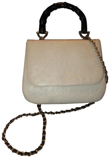 621ecceecfa26f Greta Mint Vintage Two-way Style 60's Mod Kelly Style Black Satchel in  white ostrich leather with a bamboo handle