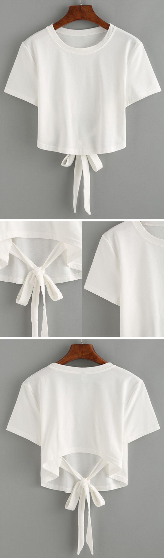 White Tie Back Crop T-shirt
