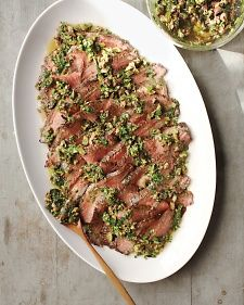 Grilled Flank Steak with Olive and Herb Sauce Great warm or room temp for parties