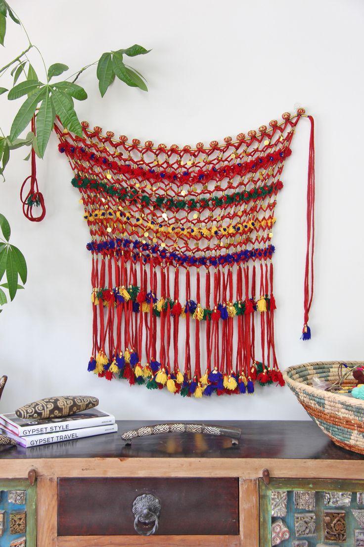 Red Camel Necklace, Tassel Pom Pom Swag