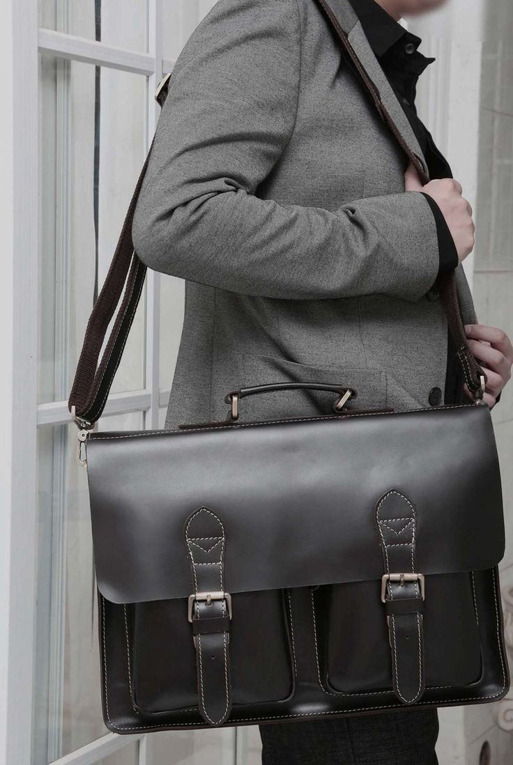 """Handmade Superior Leather Briefcase / Leather Messenger Bag - with a 13"""" 15"""" MacBook / 14"""" 15"""" Laptop Sleeve"""