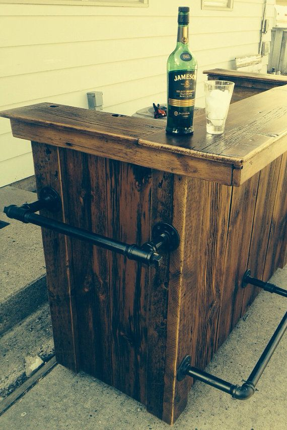 Industrial rustic reclaimed barnwood bar industrial for Wood outdoor bar ideas