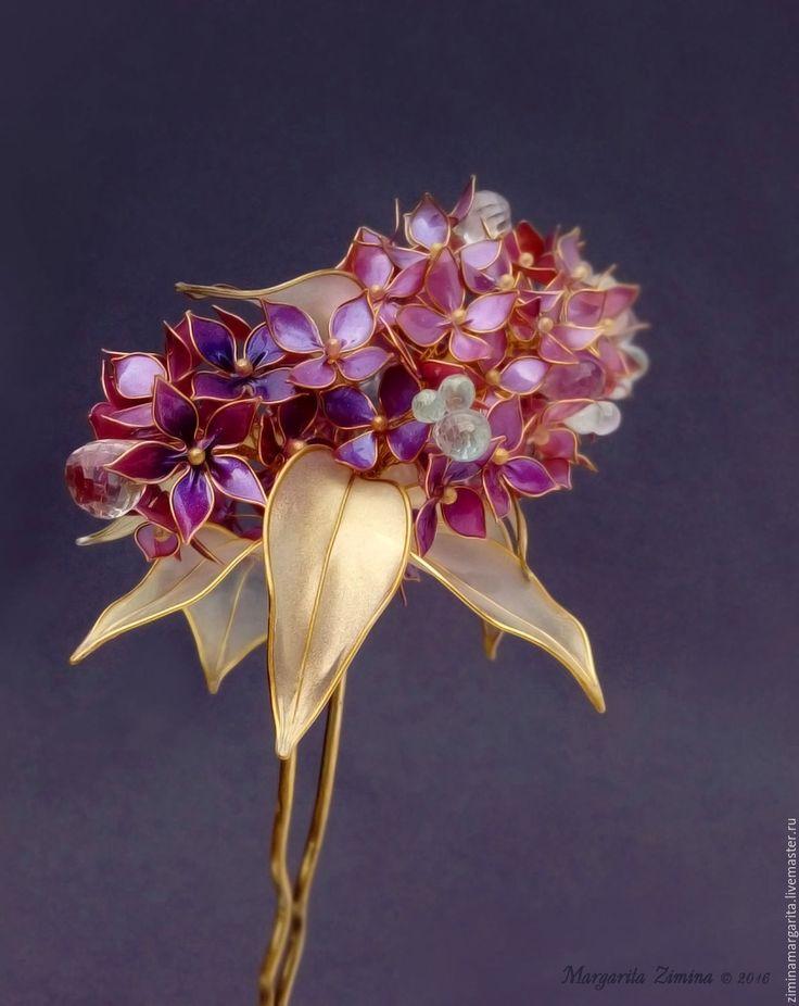 Купить Лиловая сирень. Ювелирное украшение для прически - фиолетовый, весна. Kanzashi Flower Hair Exquisite Wire and Resin Kanzashi Flower Hair Jewelry