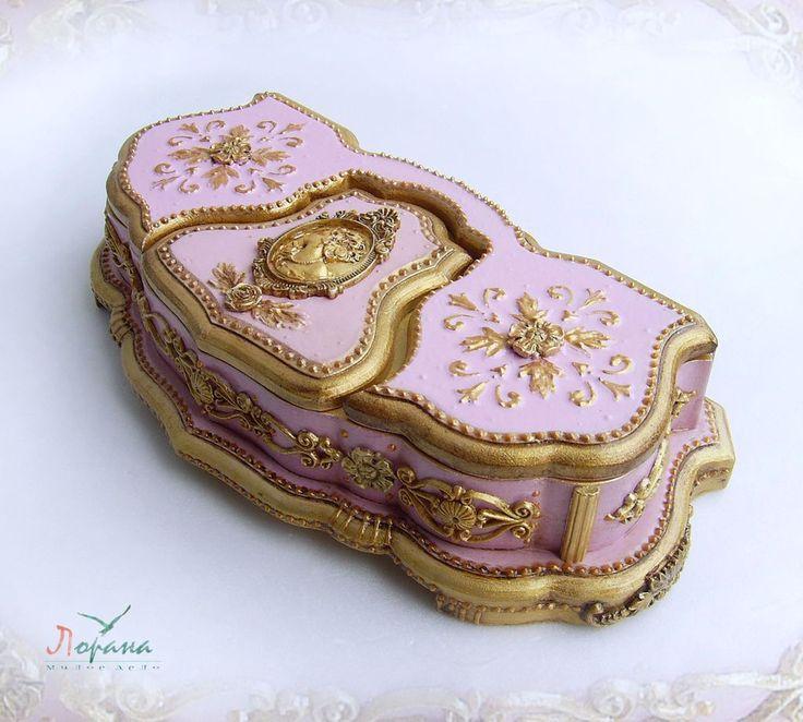 """Купить Шкатулка для украшений """"Барроко"""". - шкатулки, подарки, сувениры, бледно-розовый, шкатулки для украшений, барокко"""