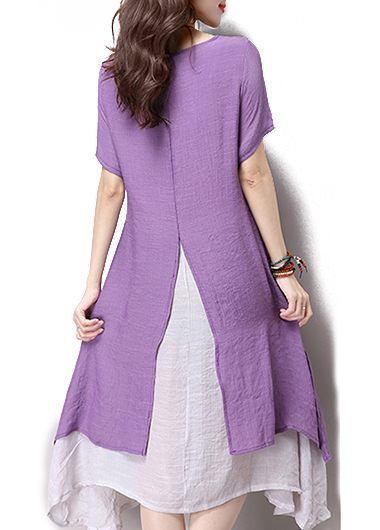 Short Sleeve Slit Purple Faux Two Piece Dress on sale only US$29.69 now, buy cheap Short Sleeve Slit Purple Faux Two Piece Dress at liligal.com