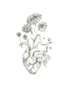 anatomical heart tattoo with flowers - Google Search