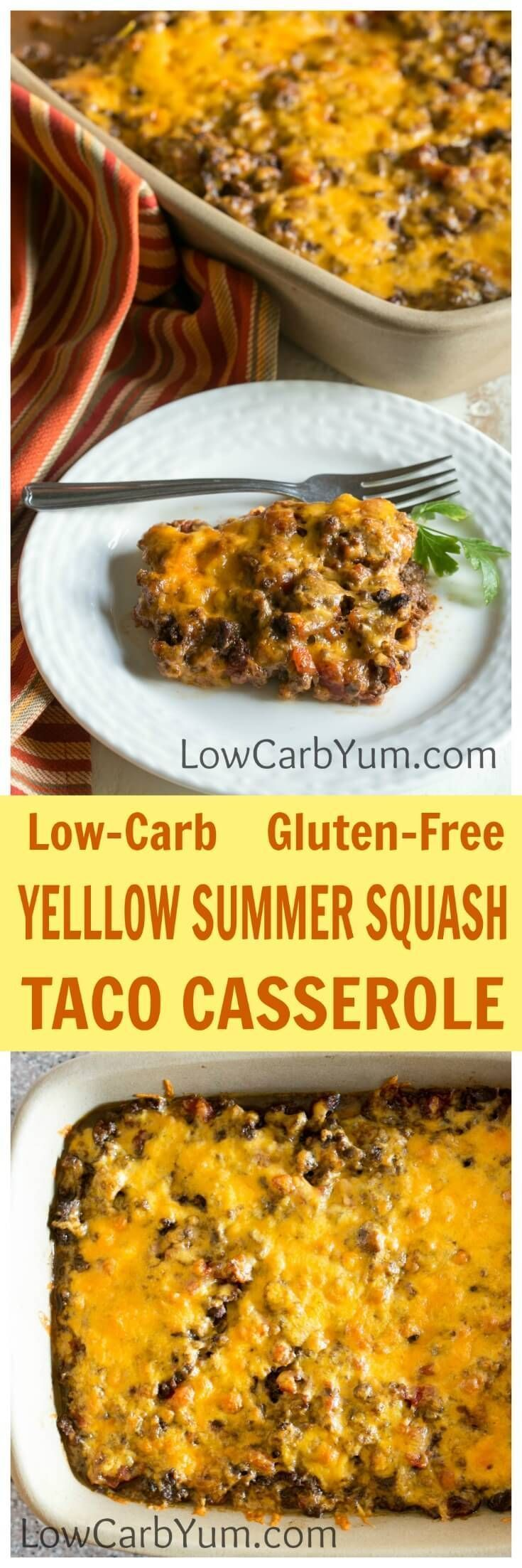 A low carb yellow summer squash taco casserole that's quick and easy to prepare. It's a yummy way  to use up a bumper crop of summer squash.