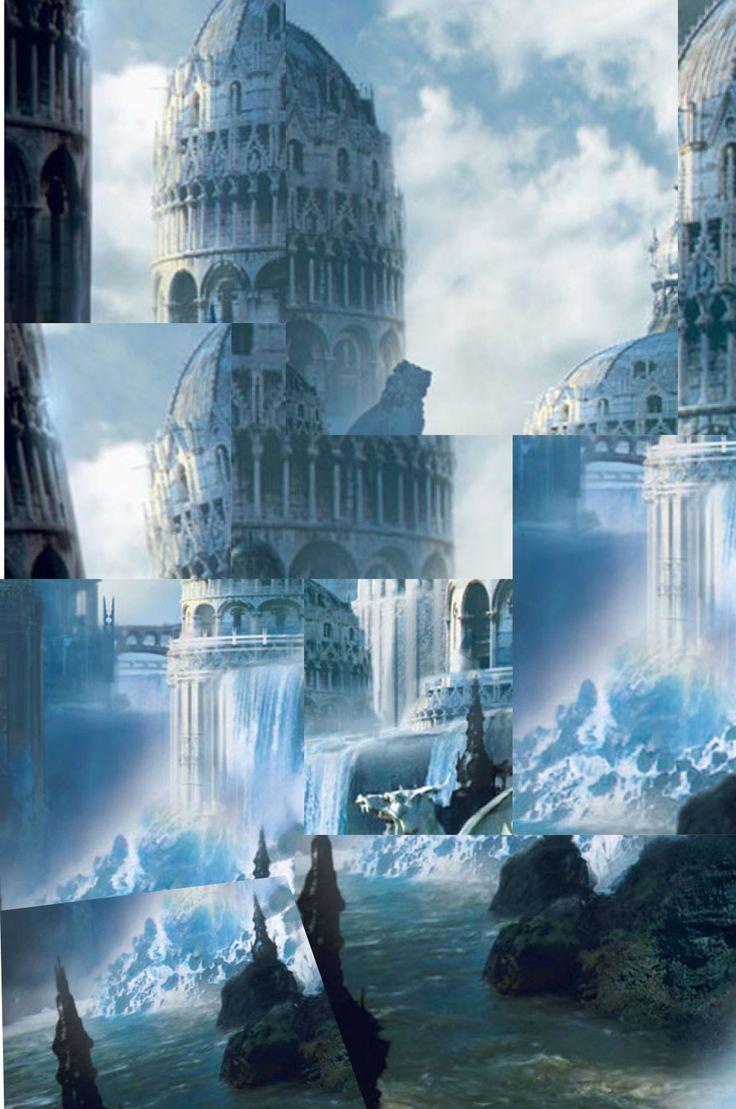 Collage di una città fantasy
