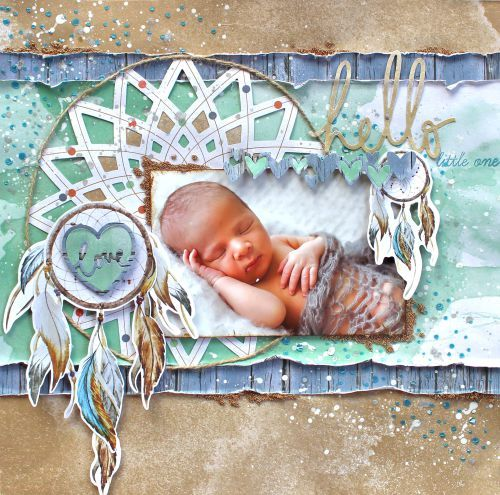 """""""Hello Little One"""" by Cathy Cafun using Kaisercraft - Bo Ho Dreams ~ Baby Layouts."""