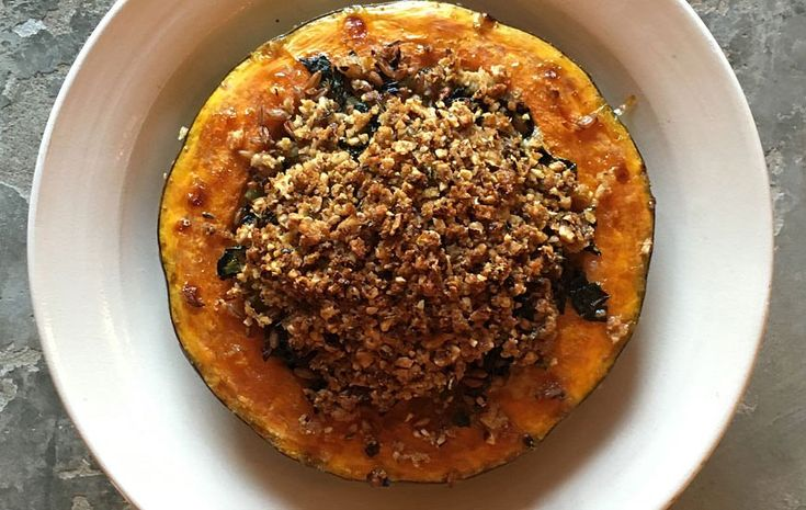Roasted Crown Prince Squash with Spelt, Cavolo Nero & Tunworth.
