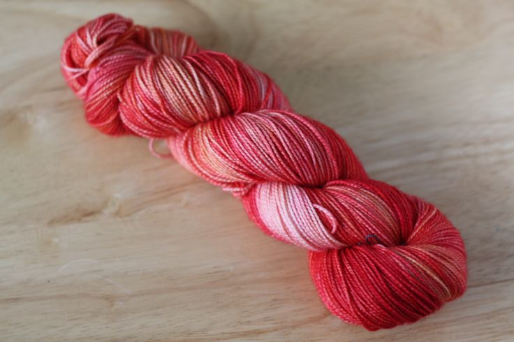"Hand Dyed Sock Yarn Superwash Wool Fingering Weight in ""Solar Flare"" Colourway $26"