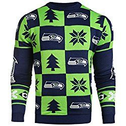 NFL Mens 2016 Patches Ugly Crew Neck Sweater, Seattle Seahawks