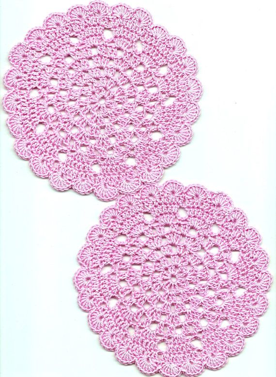 Set Of 2 Crochet Lace Doily Small Crocheted Doilies