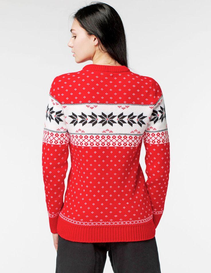Женский свитер с ежами красного цвета - tepliezveri.ru