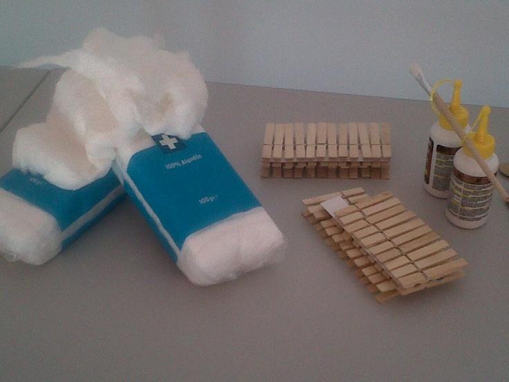 Materiales a utilizar en el taller de ovejitas
