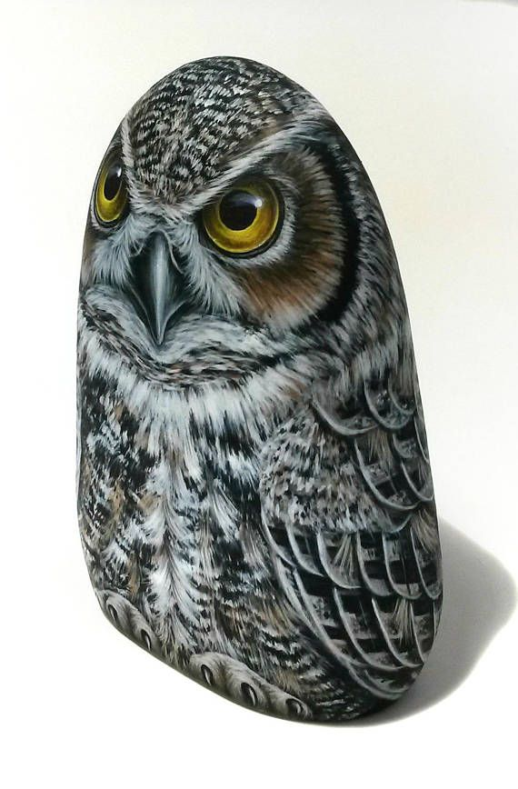 Hand-Painted Great Horned Owl Rock! The Rock is sharpened with a special wheel to stand upright and is painted from all sides with big detail, it can be a very claver gift for your friends or to keep it for your home decortion! The rock is collected from a beach on the Greek island of Ikaria. Is painted with fine art quality acrylic colors and very small brushes for the detail, i have signed on the underside and covert with strong satin varnish for protection which makes the painted rock…
