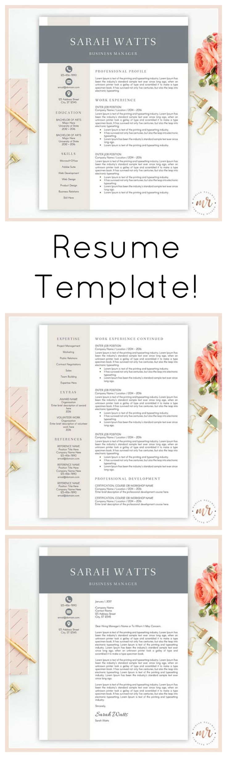 Love this stylish and professional resume template! Impress hirers and recruiters! Improve the look and feel of your resume with this resume template designed for use in Microsoft Word. Includes resume template, optional second page, cover letter and references sheet. All colors, including icon colors, can be changed directly in Word. #resume #cv #template #resumetemplate #cvtemplate #professional #jobhunting #career #ad