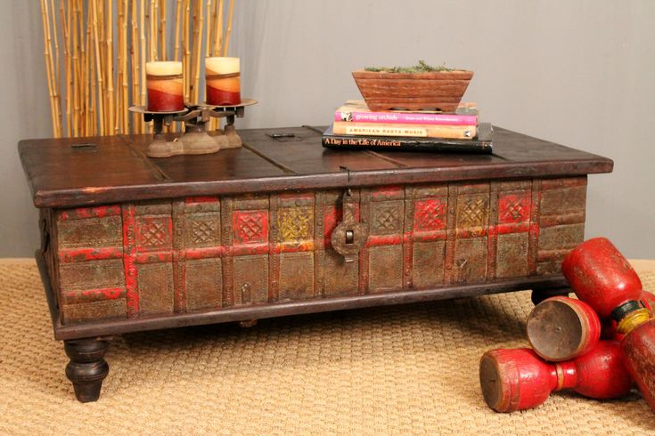 Red and yellow antique trunk coffee table - Antique trunk coffee table ...