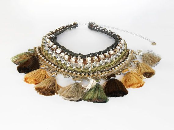 Tribal Statement Necklace, Silver Tassel Necklace, Bohemian Chic Style, Silver Collar Necklace, Native American Jewelry, Autumn Colors