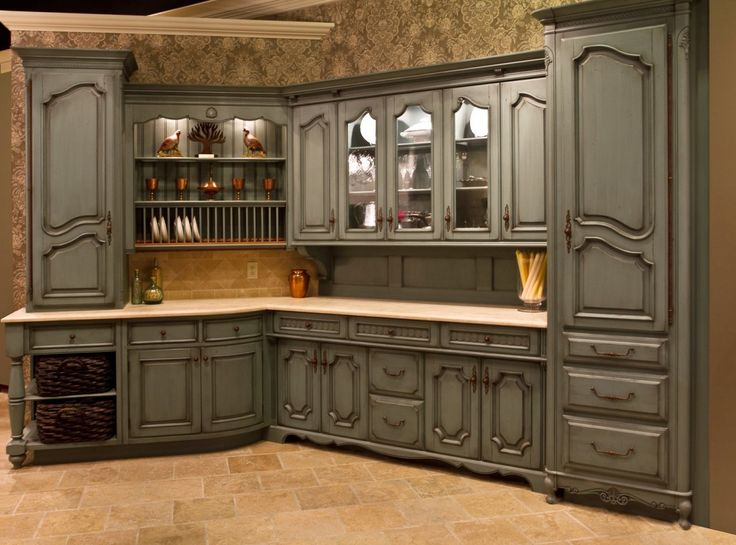 Outstanding French Chateau Kitchen Wallpaper With Gray Wooden Kitchen  Cabinet Set Mounted To The Wall Be