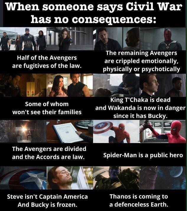 Civil War quite literally broke the Avengers. I hope they can overcome though.