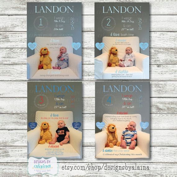 Baby Boy Monthly Stats, Milestones, Photo Overlay, Monthly Baby Photos, Monthly Baby Memories, Custom, Personalized, baby picture each month by DesignsByAlaina