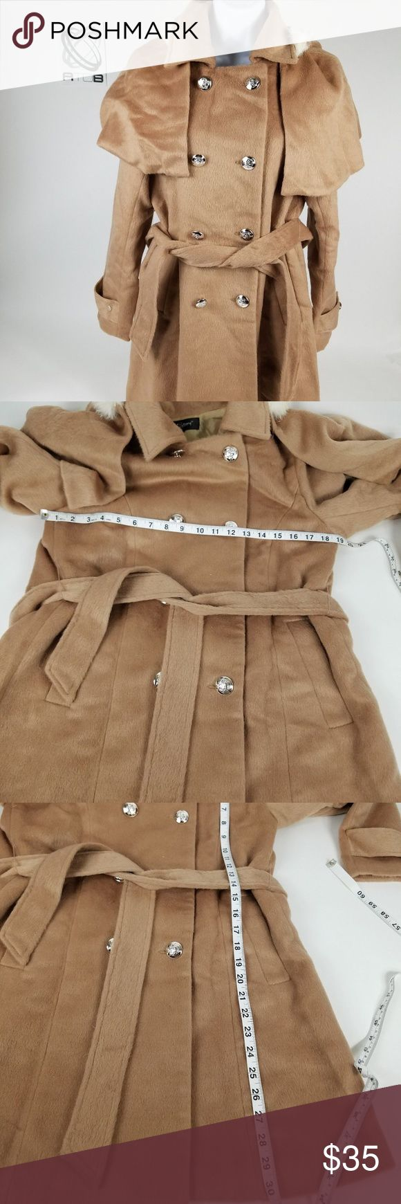 NWT R.J Story Tan Trench Coat Womens Size XL Fur R.J Story Tan Trench Coat Womens Size XL Fur Removable Hood Brown - CL R.J. Story Jackets & Coats Trench Coats