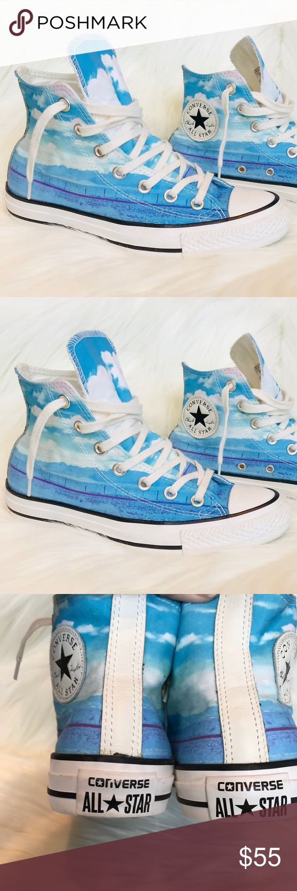Converse All Star High Tops Print Blue Sky sz7 EUC Converse High Tops Print Blue Sky Women's SZ 7 EUC * All Star Chuck Taylor High Top * Excellent condition * Women's Size 7 * Print Blue Sky Converse Shoes Sneakers