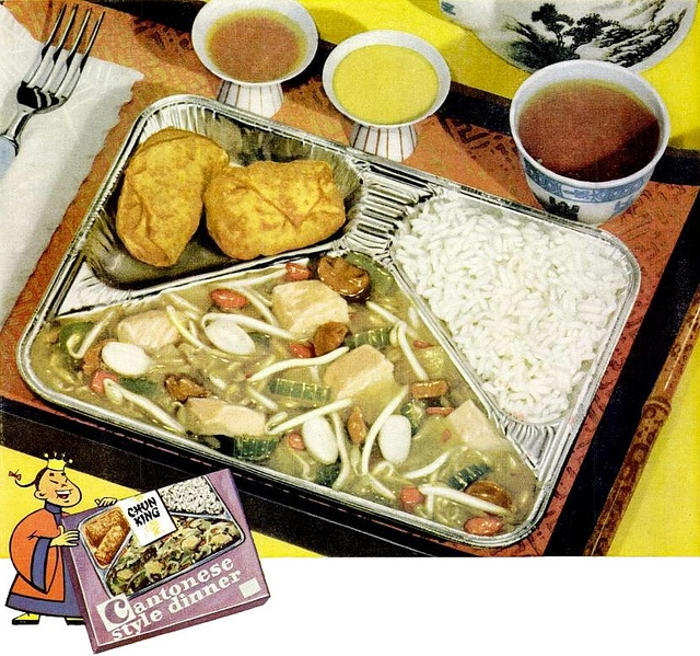 Exotic world cuisine: Chun King TV dinner, 1957. [I was completely perplexed by my first encounter with the big white bean sprouts.]: 1950S Chun, Food Ads, Ads 1957, Chun King, Tv Dinners, King Tv, Dinners Ads, Ads 1950S, Chinese Food