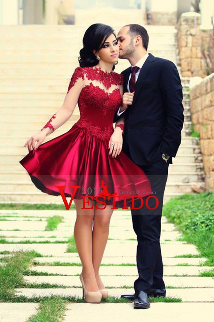 2015 Hermosa Prom Vestidos Corto A-Line Scoop mangas largas de tafetán y apliques