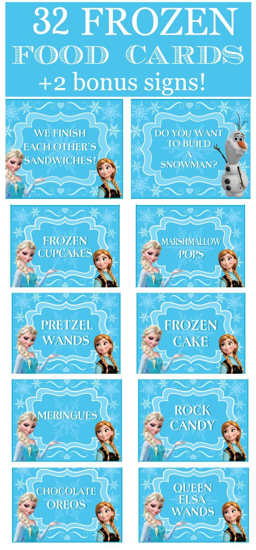 Frozen Party Food Cards & Bonus Signs!