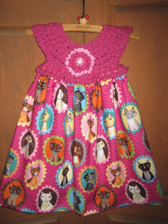 Dress COLORFUL CATS Crochet Bodice and Fabric Skirt