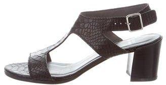 Stuart Weitzman Embossed T-Strap Sandals