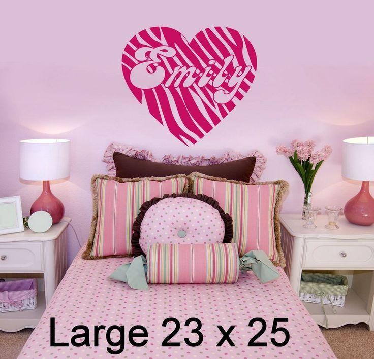 Personalized Zebra Print Heart U0026 Name Vinyl Wall Decal Sticker