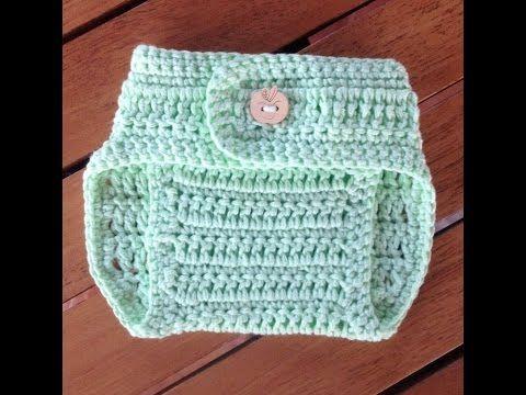 Pantalones para pañales en crochet - parte 1 con subtitulo de BerlinCrochet - YouTube