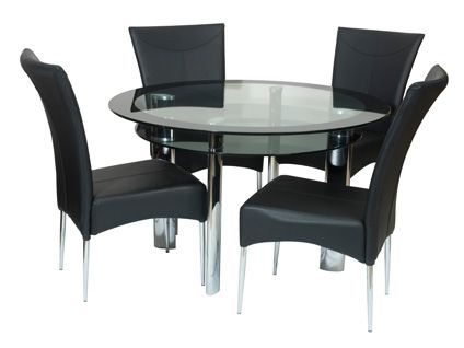 Exceptional Boat Fixed Round (clear/black Glass) Dining Table U0026 4 Black Chairs Harveys