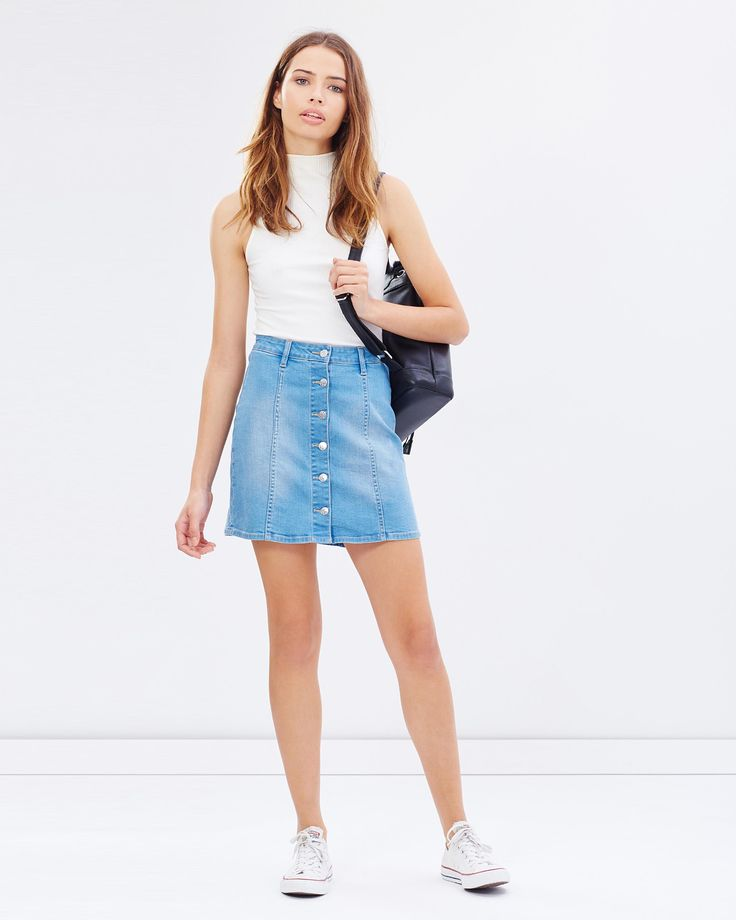 Button Front Skirt by Riders by Lee Online | THE ICONIC | Australia