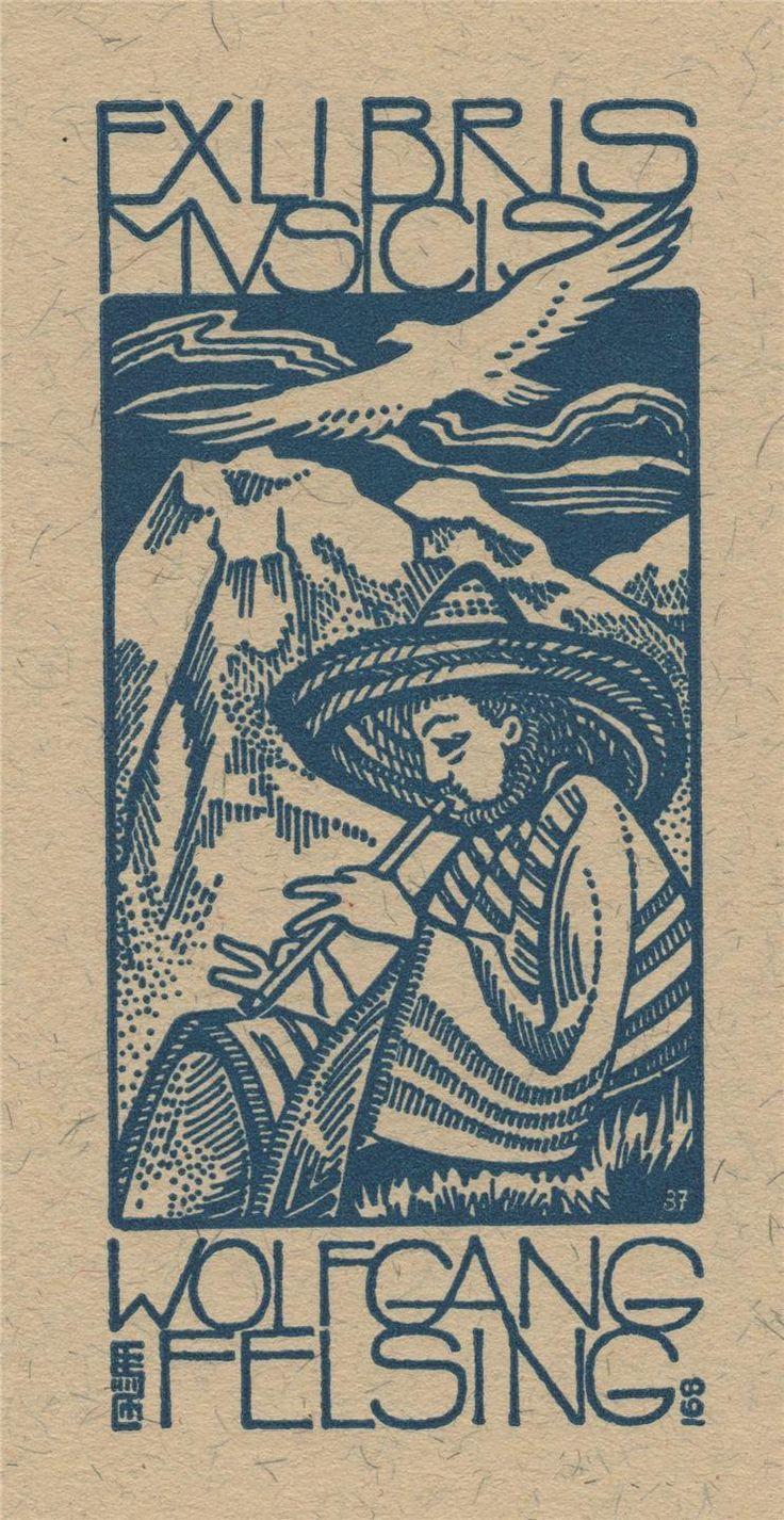 """""""Music Mountian"""" - Ex libris by the German artist Evgen F. Strobel-Matza."""